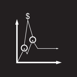 72680404 - flat icon in black and white economic graph